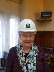 Helen Goodman wearing a HorNet helmet